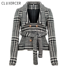 Blazer feminino 2018 New Gray plaid Double-breasted Office lady Blazer Spring Autumn Long sleeve Elegant blazer mujer  With belt blazer feminino stripe slim fit women long sleeve spring autumn office lady blazer mujer 2019 women outwear hjj801930