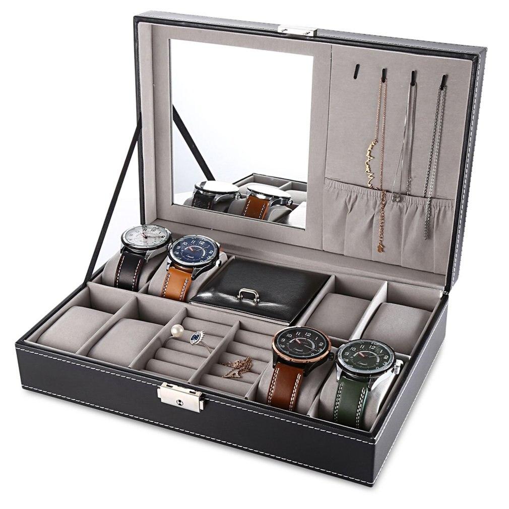 多機能時計 Jewlery 、収入ボックス Pu レザー腕時計イヤリングリングネックレスケース収納棺ディスプレイホルダートップ品質 -