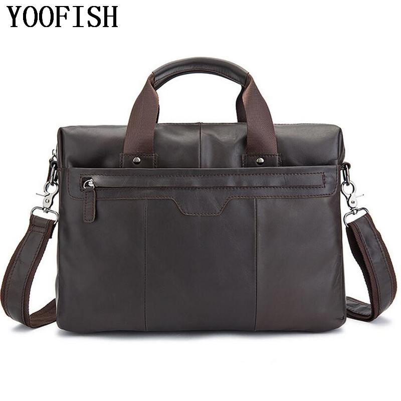Men Casual Genuine Leather Bag Business Men bags Laptop Tote Briefcases Crossbody bags Shoulder Handbag Men's Messenger Bag все цены