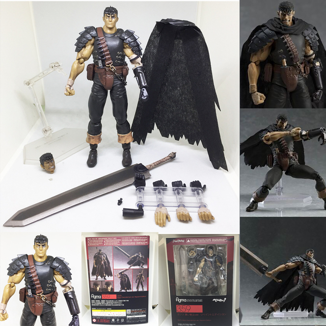 Berserk Figma 359 figuras de acción de hombre espada negra, Juguetes