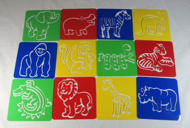 free shipping wild animal themelionelephanttiger kids plastic picture drawing - Free Kids Stencils