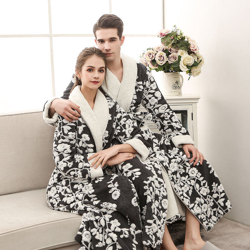 Lovers Bath Robe Women Winter Extra Long Thick Warm Flannel Bathrobe Luxury Jacquard Bath Robe Women