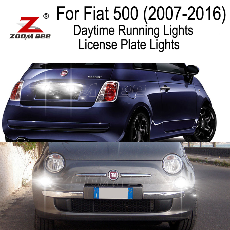 6pcs LED Daytime Running Lights License plate bulb for Fiat 500 Easy Lounge Pop Sport Trekking