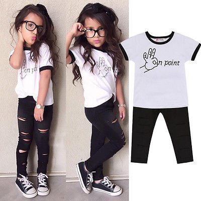2bc3017f9 2016 Summer Baby Kids Girls Cute Outfits Short Sleeve Letter Printed On  Point T shirt+Ripped Pants Clothes Set 2 7Y-in Clothing Sets from Mother &  Kids on ...