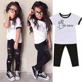 2016 Summer Baby Kids Girls Cute  Outfits  Short Sleeve Letter Printed On Point T-shirt+Ripped Pants Clothes Set 2-7Y