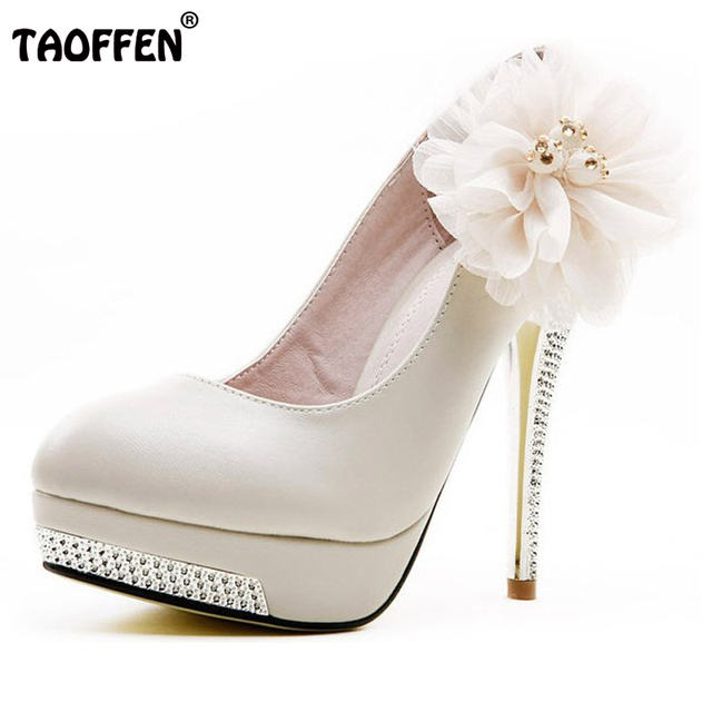 Size 35-43 Women High Heel Shoes Wedding Bridal Flower Platform Heeled thin Lady Pumps Fashion Footwear Heels Shoes sexy D5614