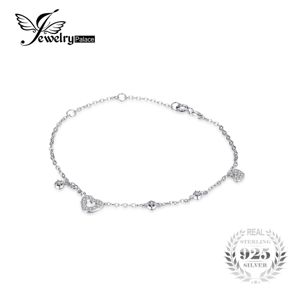 JewelryPalace Love Heart 0.3CT Round Cubic Zirconia Chain Bracelet 100% 925 Sterling Silver Bracelet Jewelry Fashion Accessories