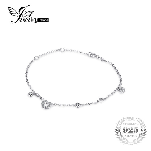 f85b85f539 JewelryPalace Love Heart 0.3CT Round Cubic Zirconia Chain Bracelet 100% 925  Sterling Silver Bracelet Jewelry Fashion Accessories