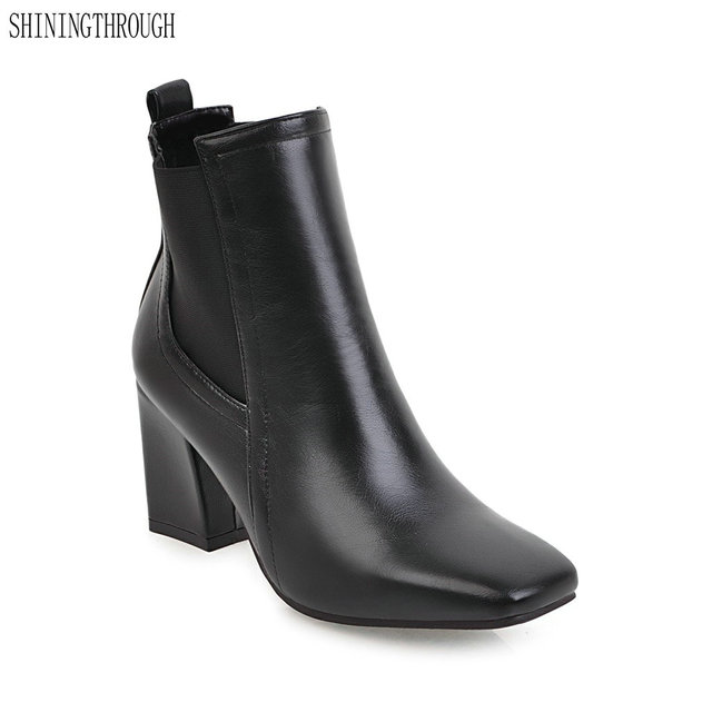 2018 New Fashion Ankle Boots Spring Autumn Women Office Las Shoes High Heels Platform Square