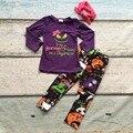 Outono/inverno boutique hightmare Véspera de Natal roupas meninas do bebê vestir roupas de algodão crianças impressão correspondência acessórios arco
