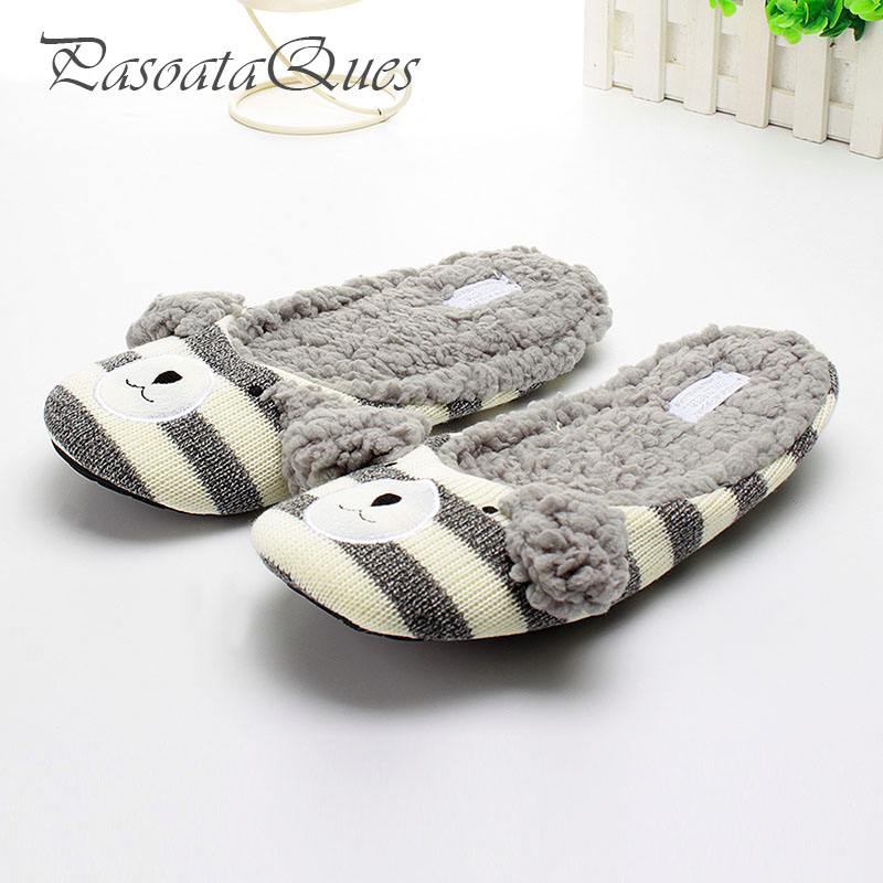Cute Bear Cotton Home Plush Slippers Women House Shoes Female Slippers For Bedroom Adult Guest Warm Winter Soft Bottom Flats cotton cute slippers women penguin animal home slippers indoor shoes bedroom house adult guest warm winter soft flats ladies