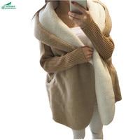 Осенне зимние женские большие размеры свободные свитера Кардиган Верхняя одежда Средний средней длины плюс кашемир утепленное пальто okxgnz