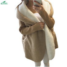 Autumn winter women large size loose sweater cardigan Outerwear medium Medium length Plus cashmere thickening coat OKXGNZ QQ1137
