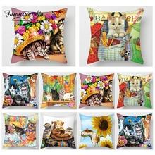 Fuwatacchi 3D Cute Lovely Cat  Print Cushion Cover Animal Cat Dog Flower Pillowcase Sofa Seat Home Car Decor Throw Pillows Cover cat print pillowcase cover