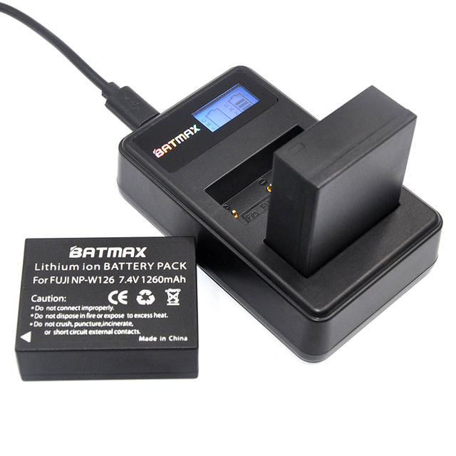 2 Pc NP-W126 NP W126 Battery+LCD USB Dual Charger for Fujifilm FinePix HS30EXR HS33EXR X-Pro1 X-E1 X-E2 X-M1 X-A1 X-A2 X-T1 X-T1