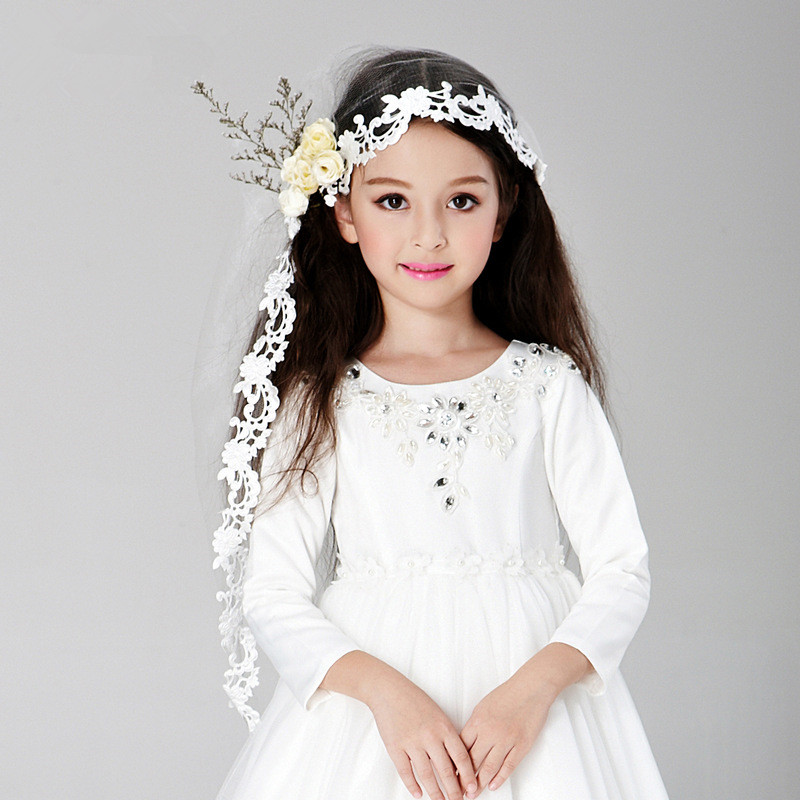 Girls Hair Vail Kids Net Ornaments White Flowers Headdress 2018 Fashion Fairy Wedding Accessories AKA162007 In From Mother On