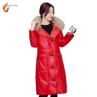 JQNZHNL 2017 New Winter Warm PU Overcoats Women Medium Long Thicken Down Cotton Leather Coats Big
