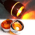 New Oranged Turn Signal Lens Chrome Metal Trim Ring Visor x2 For Harley Dyna Sportster Parts