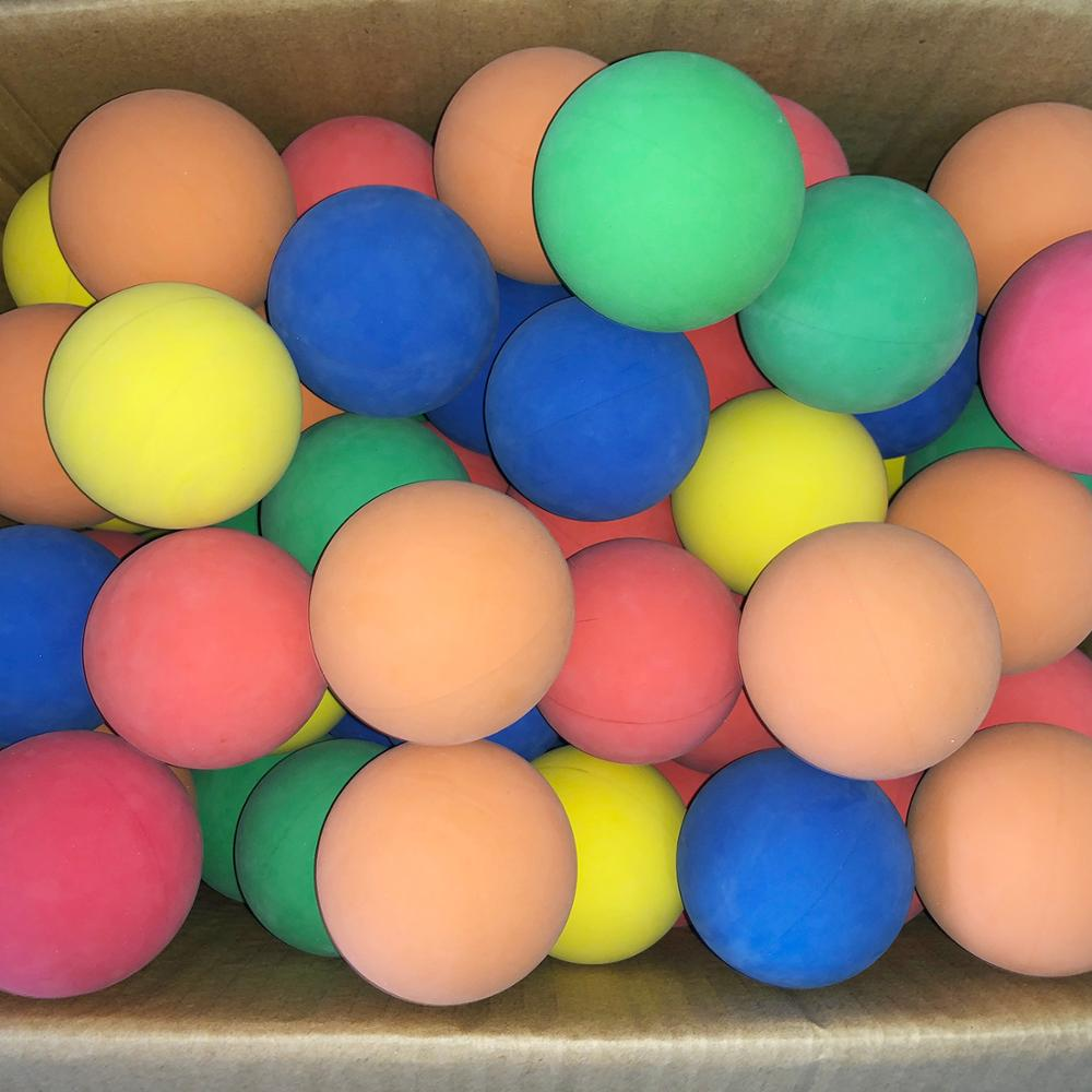 12pcs/lot 5.5cm Racquet Ball Squash Low Speed Rubber Hollow Ball Training Competition Thickness 5mm High Elasticity Random Color