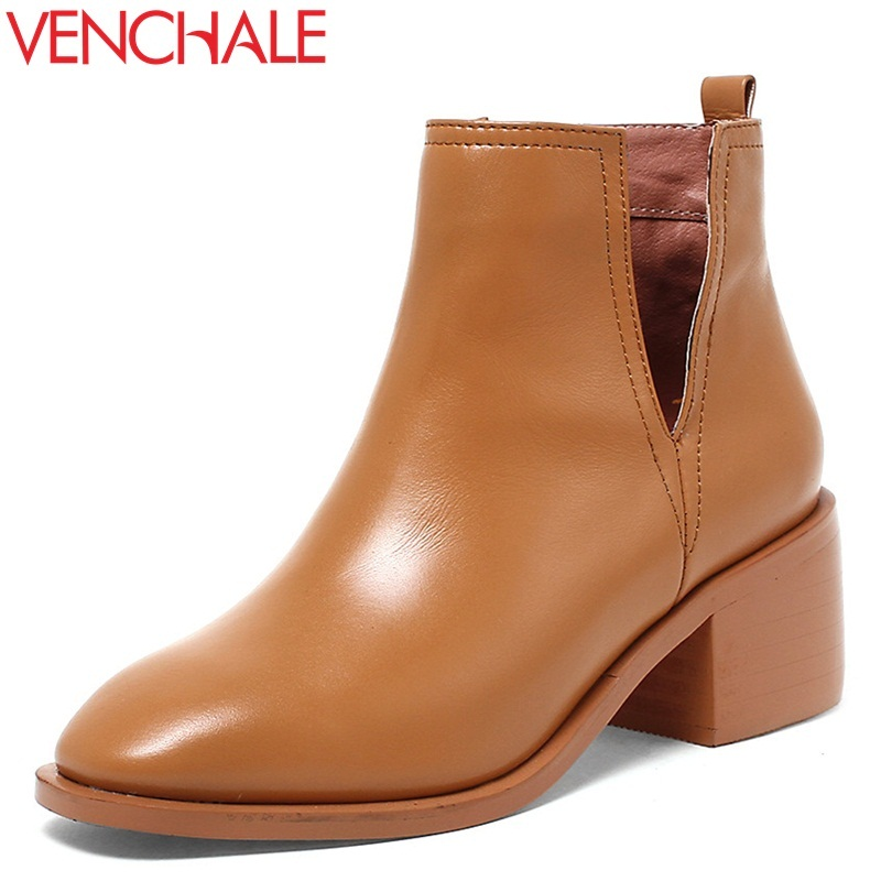 VENCHALE women ankle boots genuine leather round toe high heel black brown booties new style square heel winter outside shoes chunky genuine leather shoes round toe british fall booties autumn women ankle boots 2016 high heel slip on suede chelsea black