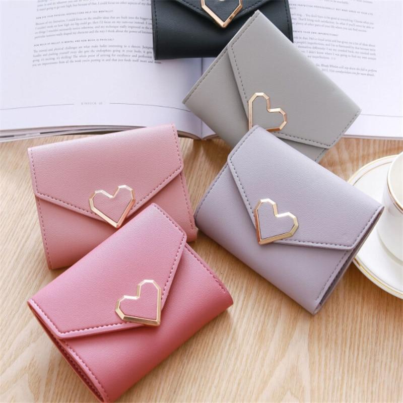 Korean Small Fresh Short Wallet Leather Purses Cute Heart Pattern Clutch Bag Women Small Purse Credit Card Holder Short Wallet