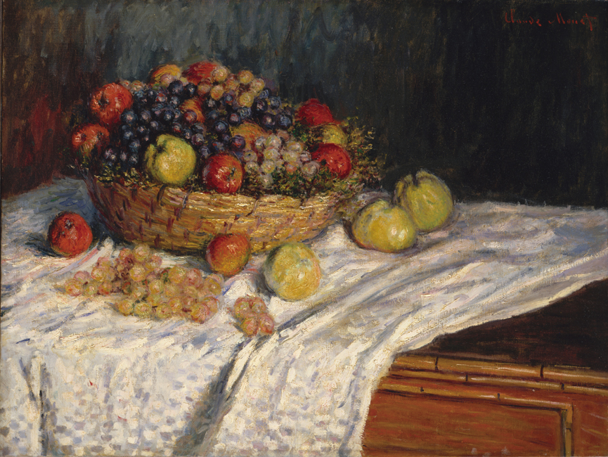 Monet Painting Fruit Basket With Apples And Grapes Art Painting Home Decorative Canvas Painting For Home wall Decoration Custom