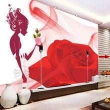 Custom 3d wallpaper Cartoon beauty red roses