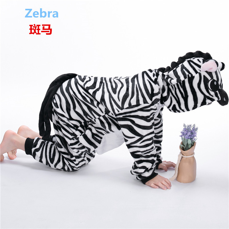 Kid Cute Zebra jumpsuit Cosplay,Boys Girls Party Clothes Flannel Pajamas Children Pyjamas Hooded Sleepwear Animal Owl Cosplay
