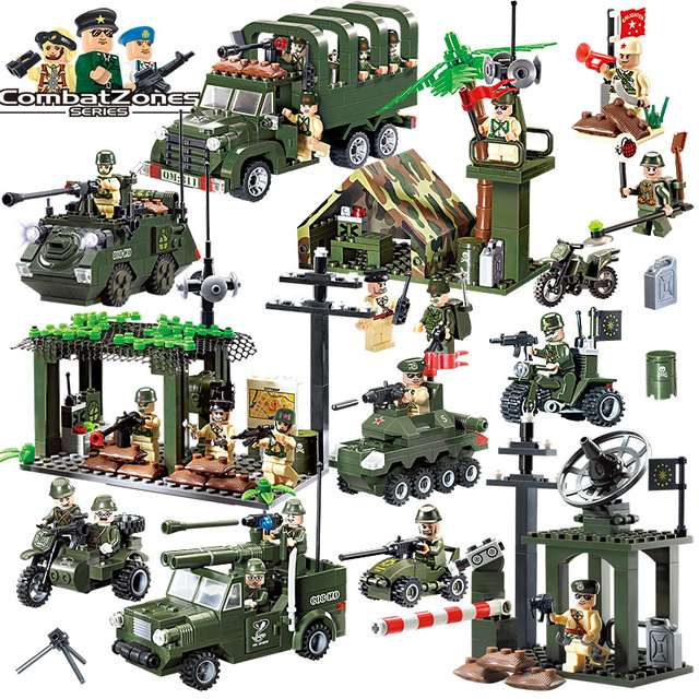 Soldiers Army Building Blocks Toys Wars Aircraft Truck Car Panzer Moto Weapon figures Compatible With Lego military For Children 8 in 1 military ship building blocks toys for boys
