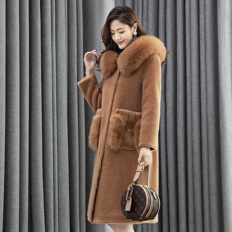 De Réel Bleu En Femmes Fourrure Manteau Renard Mouton Peau Femme Taille Plus Hiver Vêtements Nouveau Européenne camel Automne Z936 TwPCqYdwxE