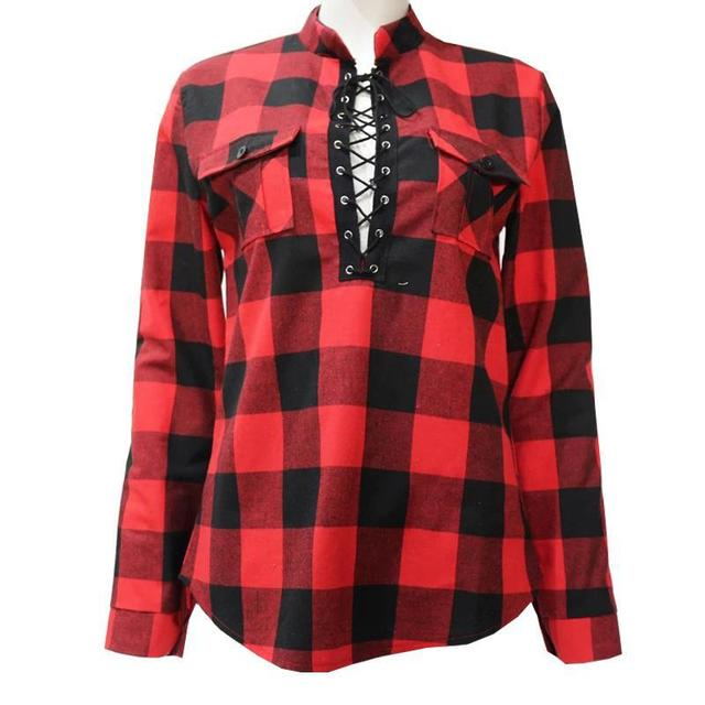 Plaid Plus Size Shirts For Women 2019 Spring Long Sleeve Stand Collar Blouses Shirt Office Lady Cotton Lace Up Tunic Casual Tops 5