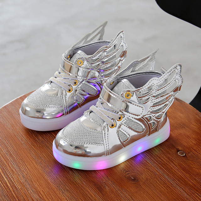 Free Gift Girls Luminous LED Light Shoes Angel Wings Baby Boys Casual Led Shoes  Children Sneakers aa4994960429