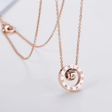 New titanium steel rose gold necklace female fashion trend wild transport beads clavicle chain