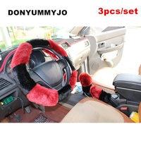 DONYUMMYJO 6 Colors Newest 3pcs Set Winter Artificial Fur Plush Car Steering Wheel Cover Handbrake Automatic