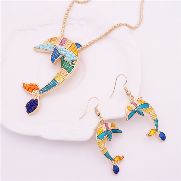 Women's Enamel Dolphin Necklace and Earrings Set 5