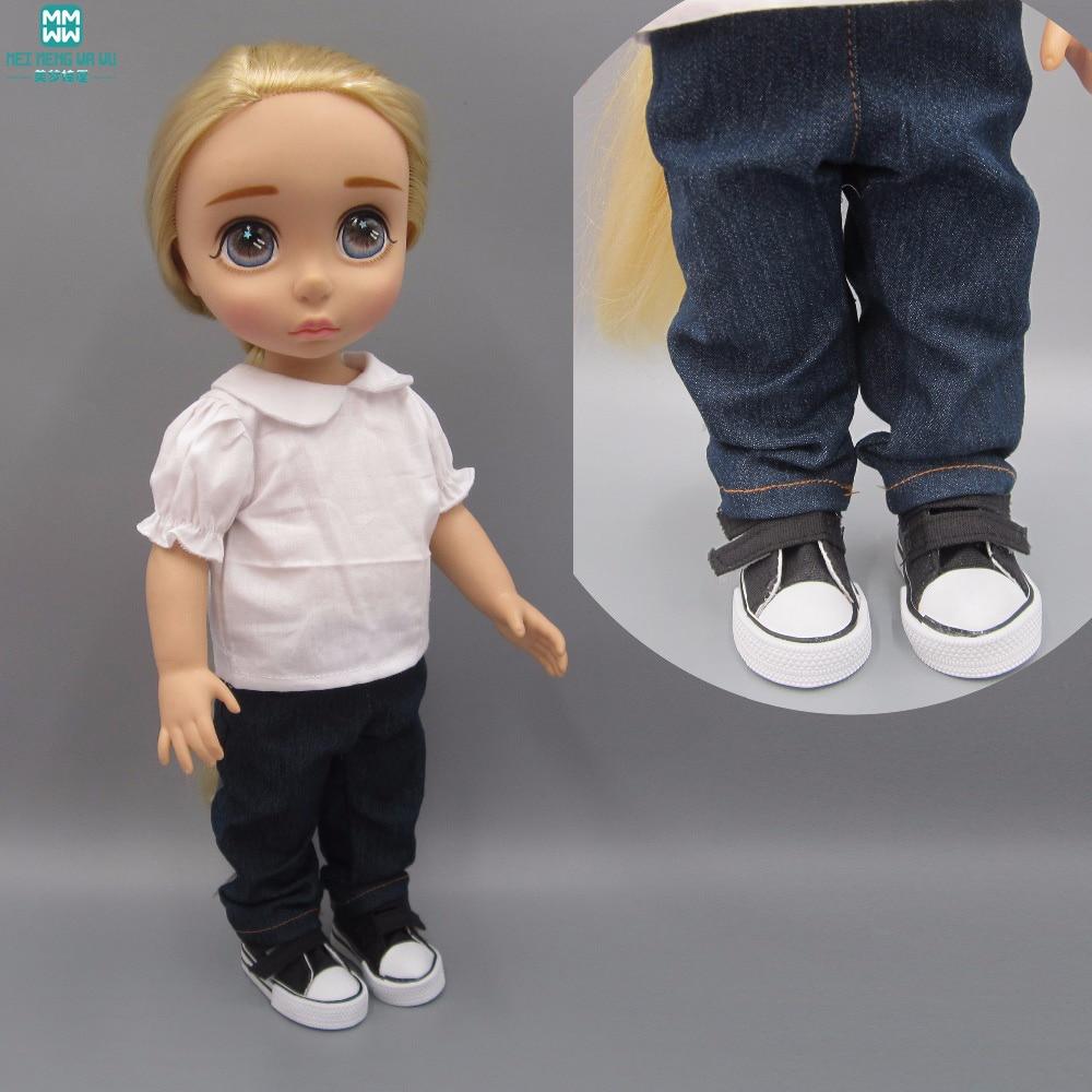 klær til dukker Hvit skjorte jeans passer til Anna Elsa Salon dukker Tilbehør