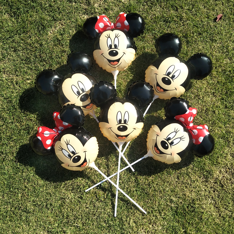 6pcs/lot Mickey Mini Mouse With White Tow Balloons Birthday Party Decorations For Kids Gifts Happy New Year Wedding Balloons