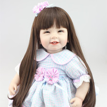 22 inch 55cm Real Life Girl Doll Reborn Baby Toys Newborn Baby Girl Long Hair Princess Bonecas Best Girls Toys Birthday Gift