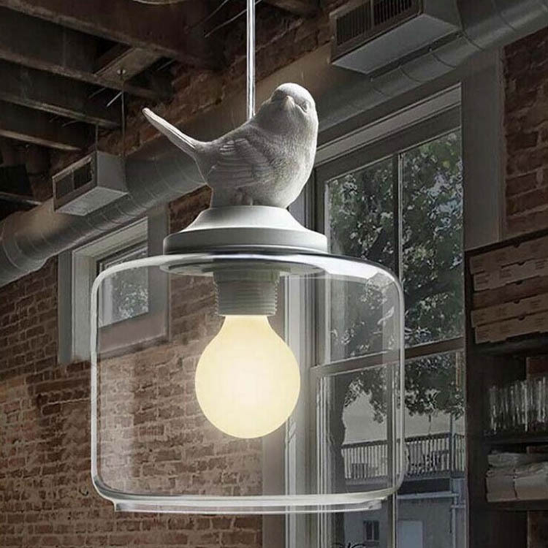 Glass Hanging American Creative Personality Living Room Dining Room Study Bedroom Bar Led Single Resin Glass Bird Pendant LampGlass Hanging American Creative Personality Living Room Dining Room Study Bedroom Bar Led Single Resin Glass Bird Pendant Lamp