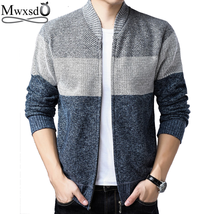 Mwxsd Brand Casual Men Warm Cardigan Men's Cotton Knitted Cardigan Jacket And Coat Male Stander Collar Overcoat Jacket
