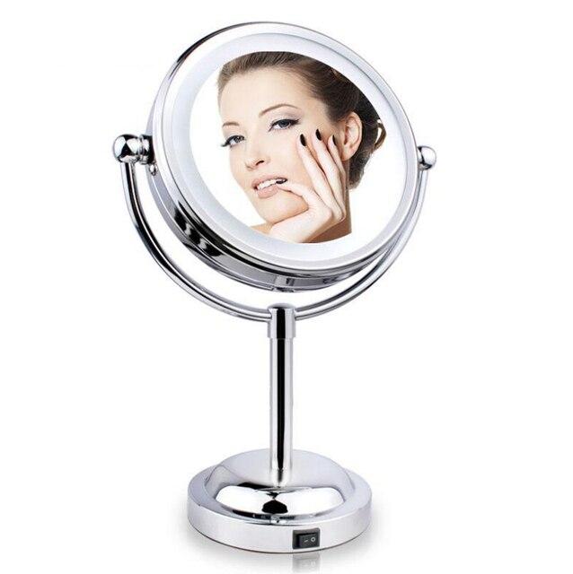 Новый 6 дюймов 1X / 3х кратным увеличением зеркало для макияжа косметические зеркала с из светодиодов свет настольный вращаться на 360 градусов