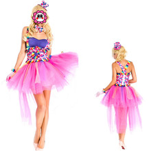 Abbille Funy Super  Fancy Pink Dance Costume Cosplay Clown Uniform For Adult Women Halloween Carnival party Cute Dress Clothing