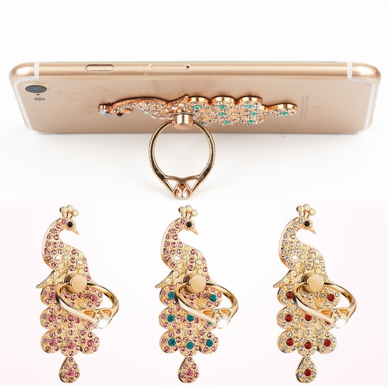 Colored Diamond Peacock 360 Degree Rotate Freely Phone Ring Stand Holders For Universal Mobile Phone Mount Finger Ring Holder