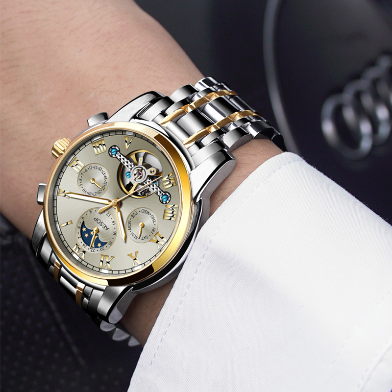 AESOP Automatic Mechanical Watch Men Luxury Men's Wrist Watches Wristwatch Waterproof Skeleton Male Clock Men Relogio Masculino - 6