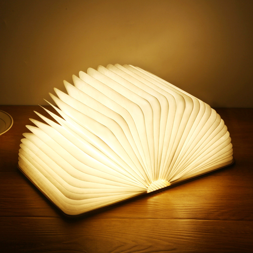 Book Lights Us 15 Led Book Light Wooden Book Lamp Warm Light Usb Rechargeable Foldable Bed Night Lights For Kids Children Parents Creative Gift In Led