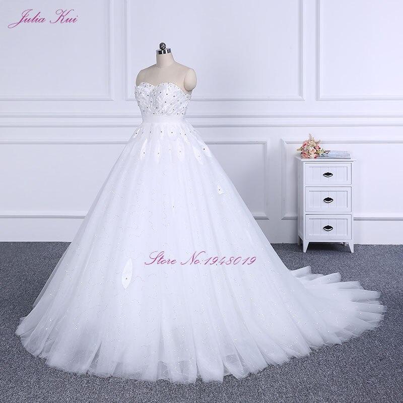 Elegant Strapless Lace Up Eye Type Court Train A Line Wedding Dress ...