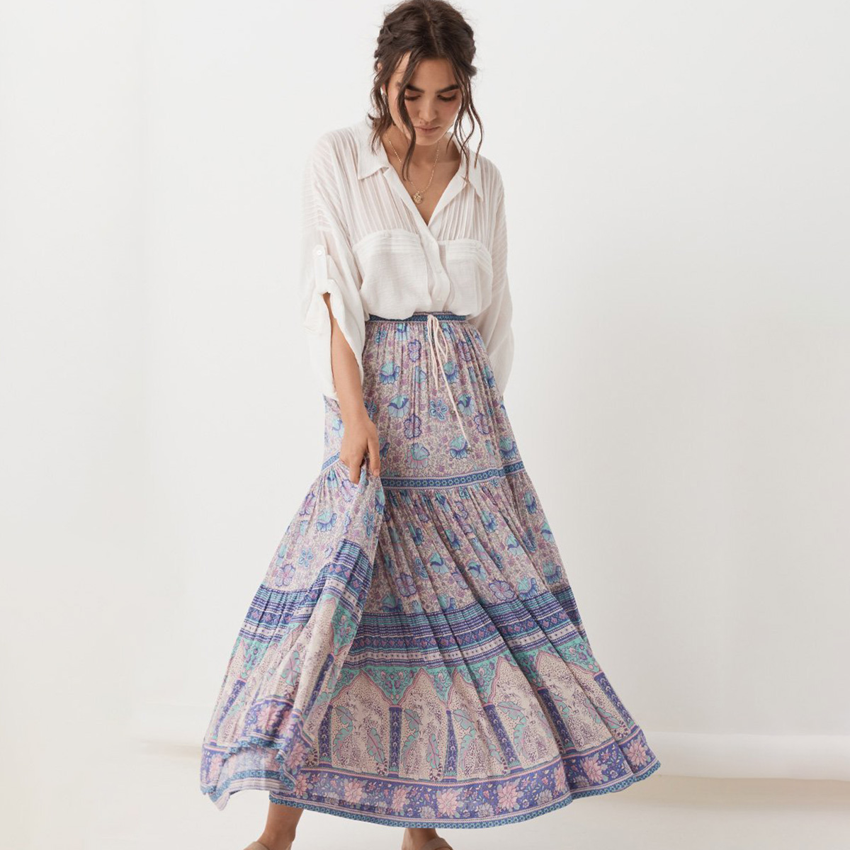Beautiful Flowing Chocolate Brown Mother Nature Hippie Boho Skirt ...