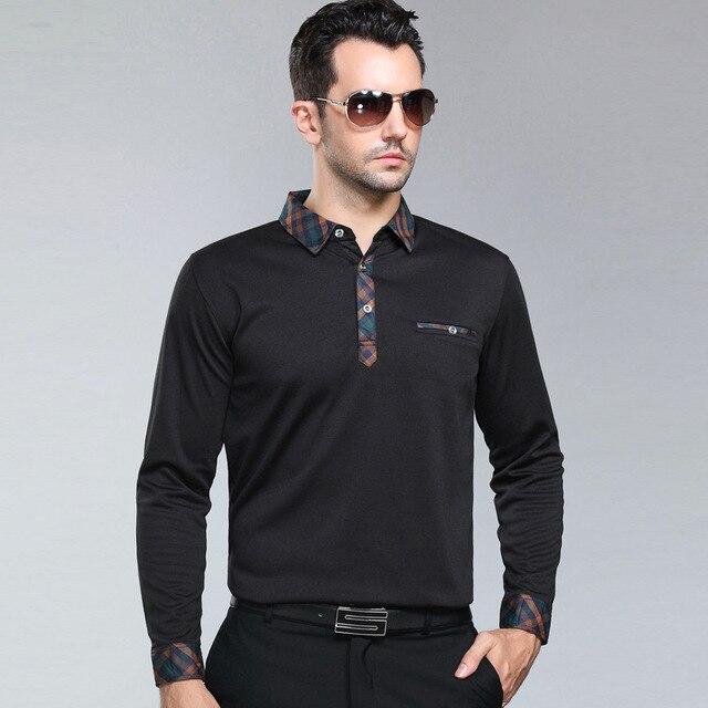 2016 новая мода поло homme среднего возраста мужчин весна осень мужская отец положил мужская с длинным рукавом рубашки поло твердые дышащий camisa