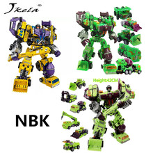 [Promotion] NBK 1-6 Action figure Robot Ko Devastator LONG HAUL Scraper Mixmaster Figure Toy Action Figure Toys [hot] action figure ko version kids classic robot cars devastator right thigh action figure toys for children model toy