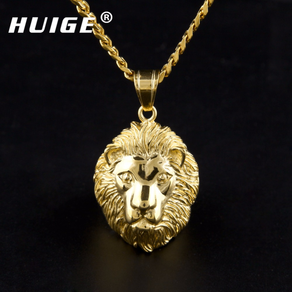 Mens Hip Hop 24K Gold Color Lion Head Pendant Necklace Women Jewelry Punk Style Stainless Steel Necklace With 5mm Cuban Chain